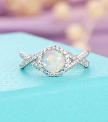 Vintage Opal engagement ring white gold