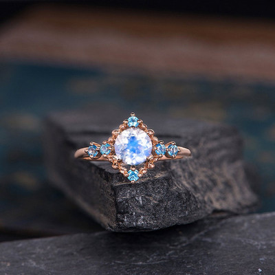 Moonstone Engagement Ring And Blue Topaz Rose Gold