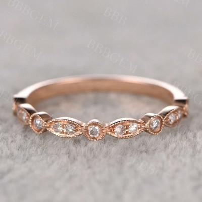 Moissanite Wedding Band 14/18k Rose Gold Half Eternity Marquise Shape