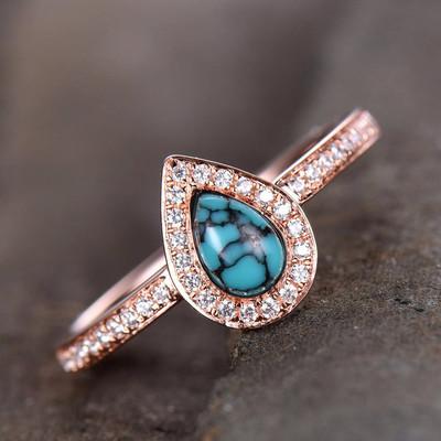 Halo Turquoise Engagement Ring