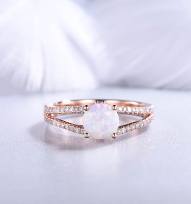 Round Cut Opal Wedding Ring Rose Gold