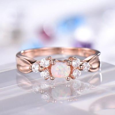 Cluster Opal Engagement Ring Rose Gold