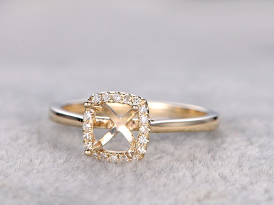6mm Square Cut Diamond Engagement Ring Settings Yellow Gold Cushion Semi Mount Halo Stacking 14K/18K