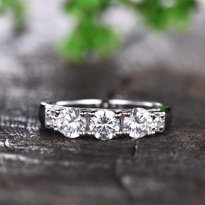 Three Stones Moissanite Engagement Ring
