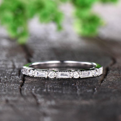 Moissanite Wedding Band white gold