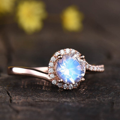 Infinity Moonstone Engagement Ring Rose Gold 0
