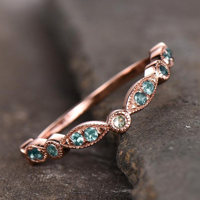 Half Eternity  Alexandrite and Peridot Bands-BBBGEM Marquise and Dot Wedding Band