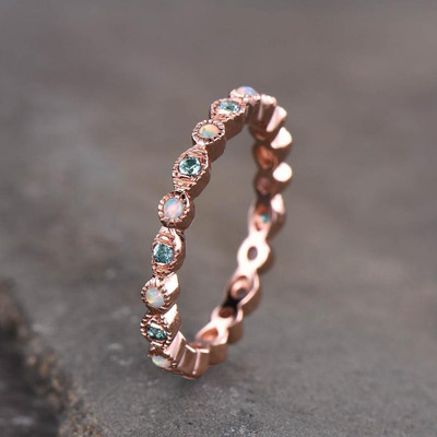 Alexandrite Opal Wedding Ring