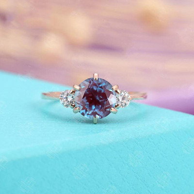 Three Stone Alexandrite Engagement Ring 1