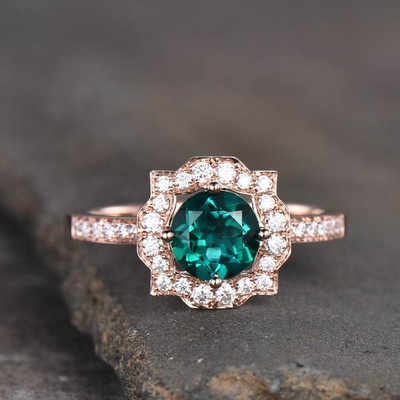 Emerald Moissanite Halo Engagement Ring