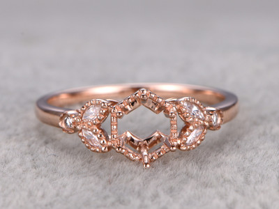 6.5mm Diamond Engagement Ring Settings Rose Gold Round Cut Semi Mount Marquise Flower Leaf 14K/18K