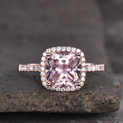 Cushion Pink Morganite Engagement Ring-BBBGEM Cushion Cut Morganite Rings