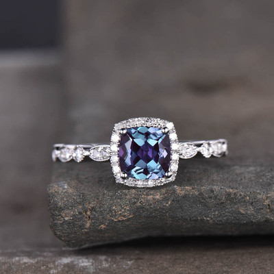 alexandrite halo engagement ring