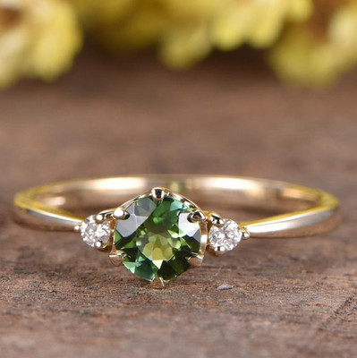 Tsavorite Engagement Ring 3 Stone