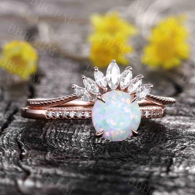 Antique Opal Engagement Ring Set Rose Gold 01