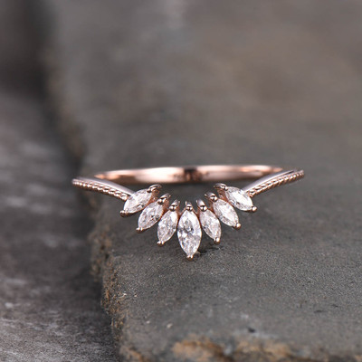 Moissanite Wedding Band Rose Gold