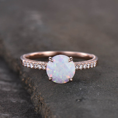 Female Opal Solitaire Engagement Ring Rose Gold