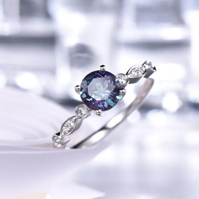 Round Alexandrite Engagement Ring