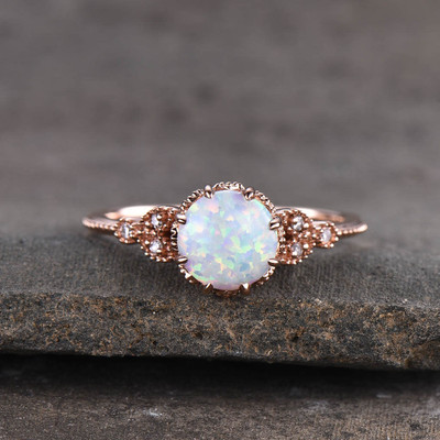 Opal Solitaire Engagement Ring