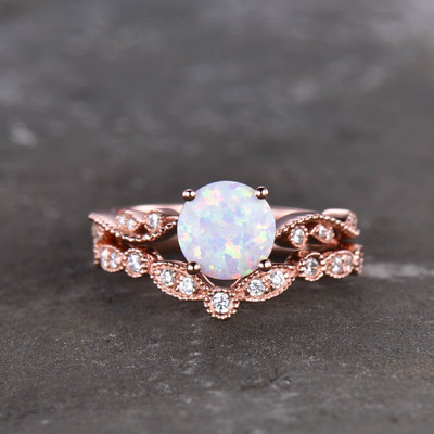 Opal Bridal Set Rose Gold