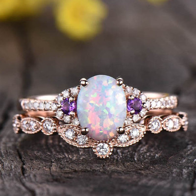 Vintage Opal And Amethyst Engagement Ring Set 0