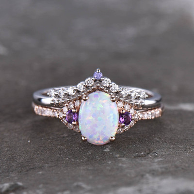 Custom Opal bridal set