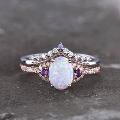 Custom Opal bridal set-BBBGEM Three Stone Vintage Opal Rings