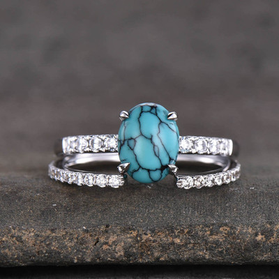 Turquoise Bridal Set White Gold