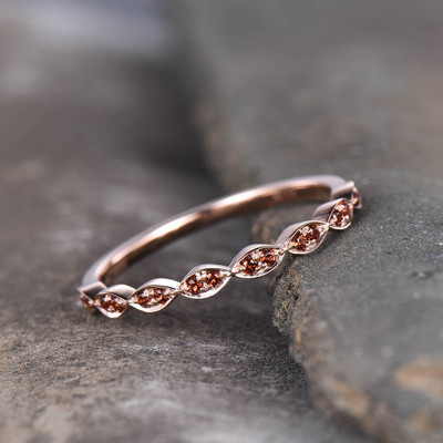 Cadenza Red Garnet Wedding Band 14K Rose Gold Half Eternity Band