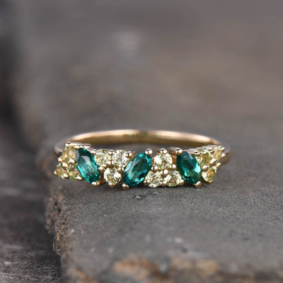 emerald and peridot wedding ring