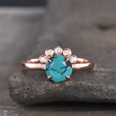 Floral Turquoise Diamond Engagement Ring