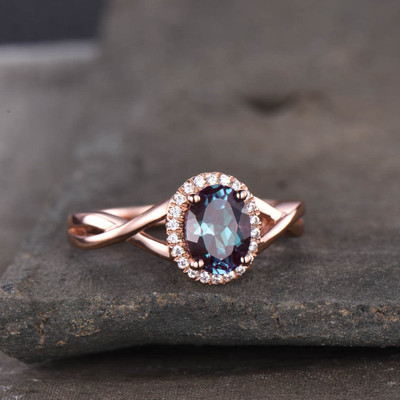 Infinity Alexandrite Engagement Ring
