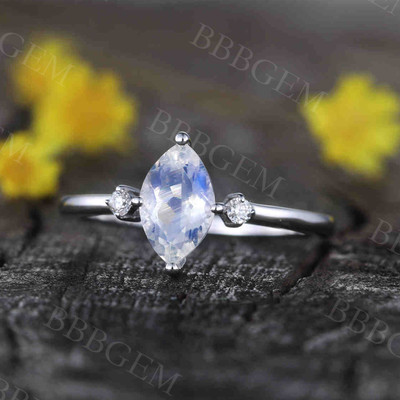Marquise Cut Moonstone Engagement Ring