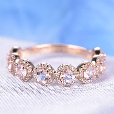 morganite wedding ring rose gold