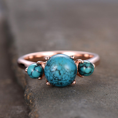 Three stone turquoise engagement ring