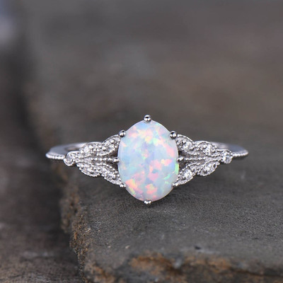 Opal Engagement Ring White Gold