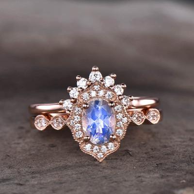Rose Gold Moonstone Bridal Set