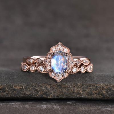vintage moonstone bridal set