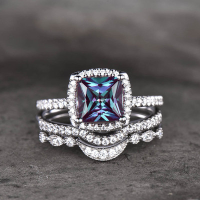 Alexandrite Bridal Set White Gold