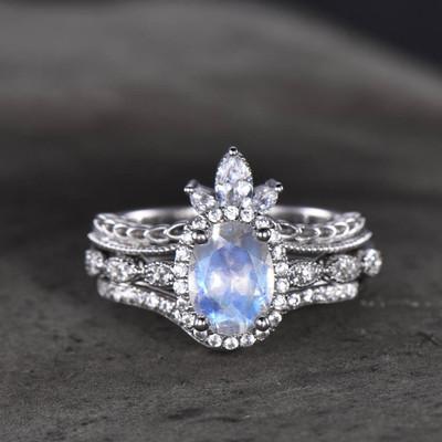 moonstone engagement ring set-BBBGEM Oval Moonstone Ring Set
