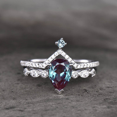 Alexandrite Engagement Ring White Gold