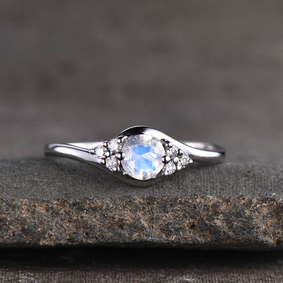 Moonstone Engagement Ring White Gold