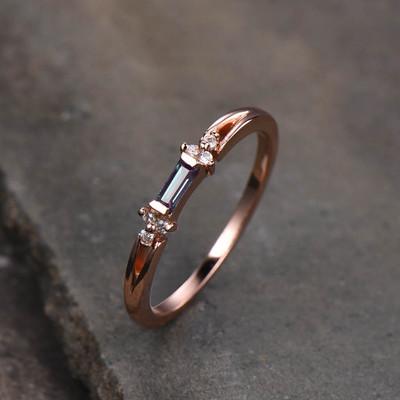 Baguette Cut Alexandrite Engagement Ring