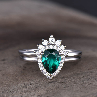 Pear Shaped Emerald Wedding  Ring