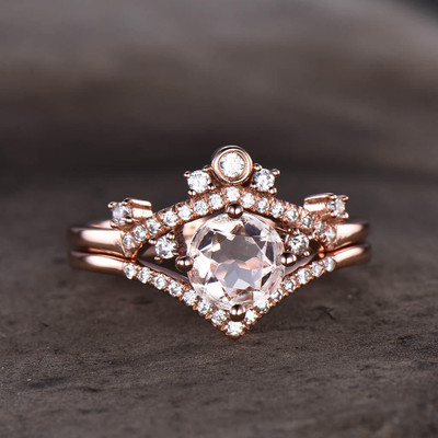 Morganite Bridal Set Rose Gold