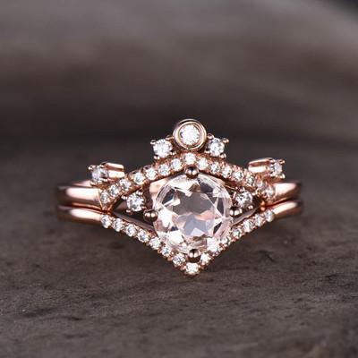 Morganite Bridal Set Rose Gold