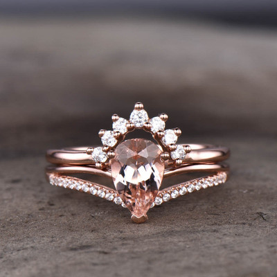 rose gold morganite wedding set