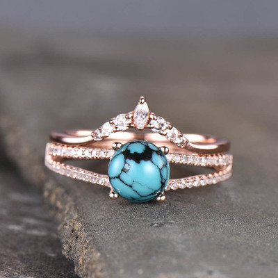 female turquoise engagement ring