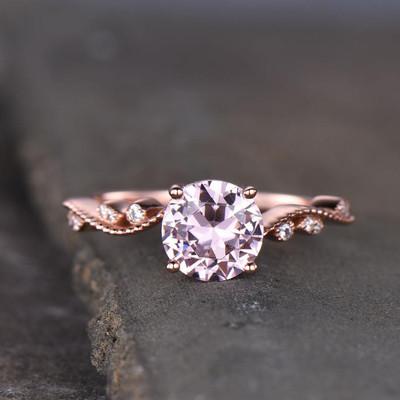 Solitaire  Morganite Engagement Ring-BBBGEM Rose Gold Morganite Engagement Rings