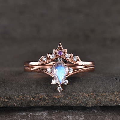 moonstone wedding set